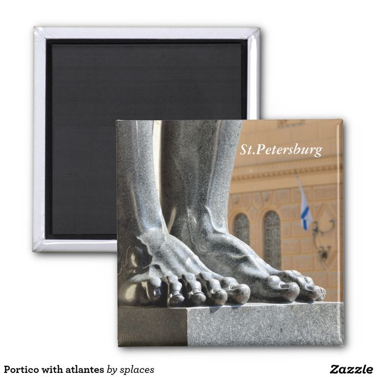 Portico with atlantes. Saint Petersburg, Russia 2 inch square magnet