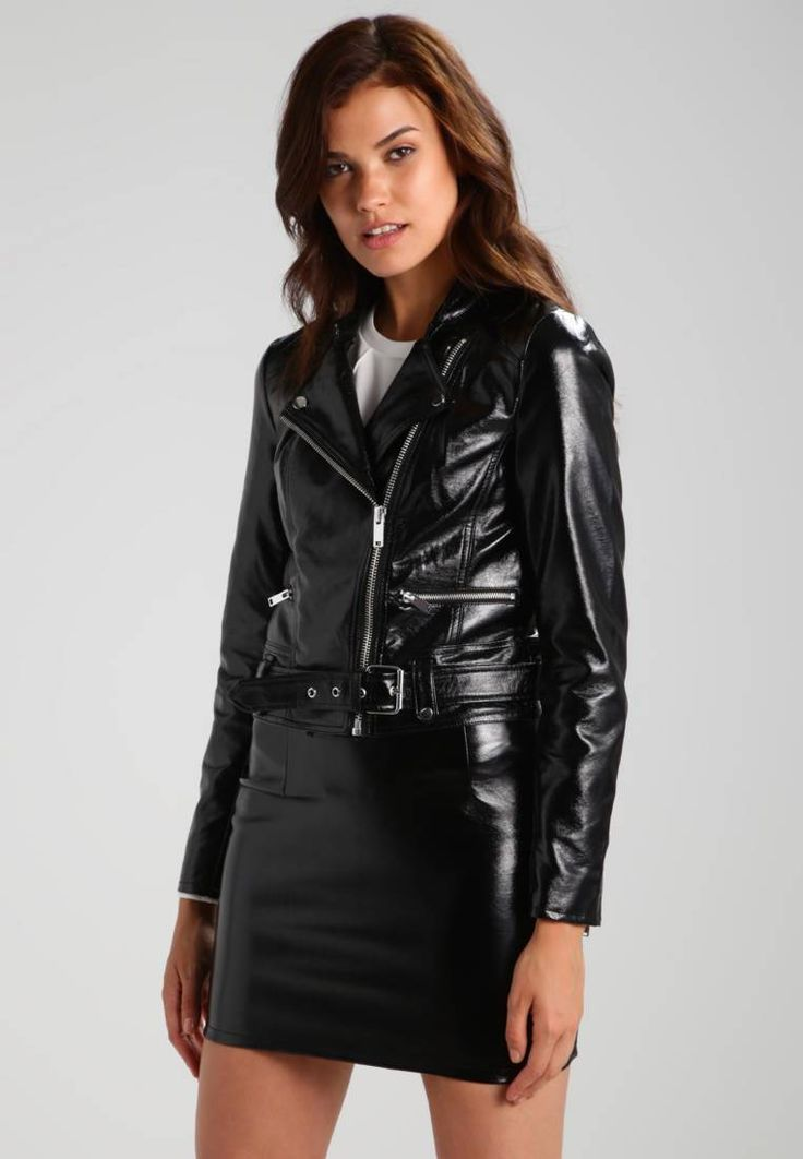 """ONLY. ONLANN GLAZED FAUX LEATHER BIKER - Faux leather jacket - black. Outer fabric material:100% polyurethane. Pattern:plain. Care instructions:do not tumble dry,machine wash at 30°C. Sleeve length:long,24.5 """" (Size 8). Fit:small. Details:belt included. Fastening:zip..."""