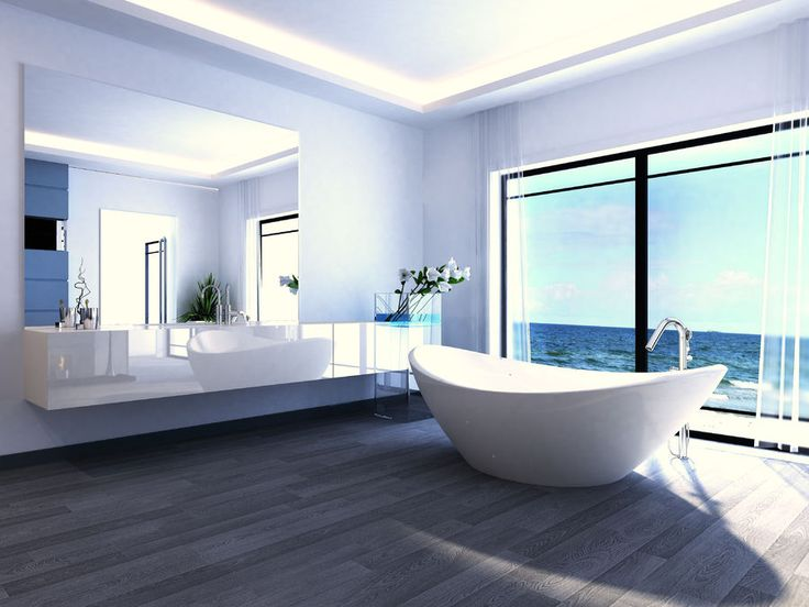 Nowoczesna łazienka - gdybyśmy miały wannę z widokiem na ocean, pewnie nigdy byśmy z niej nie wyszły.fot. fotolia.com