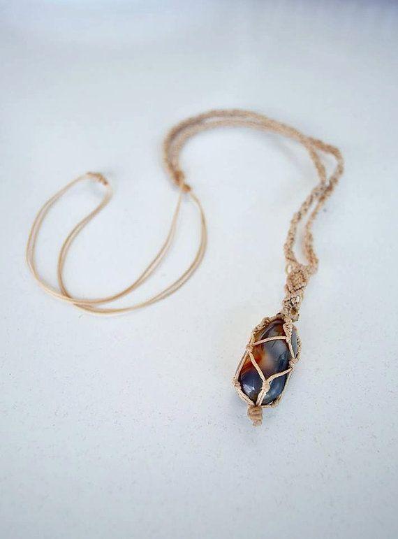 #Fashion  #Handmade #Macrame #Necklace with #Semiprecious #Gemstone by LunaMater on #etsy.