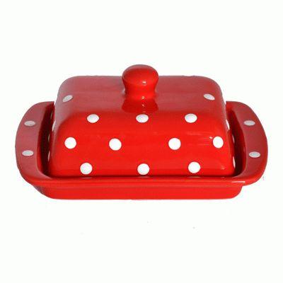 Piros-fehér pöttyös vajtartó - 2.000 - 3.000 Ft - Konyhai kiegészítők, Bonbon formák, Szilikon formák, Kiszúrók - GasztroShop.hu