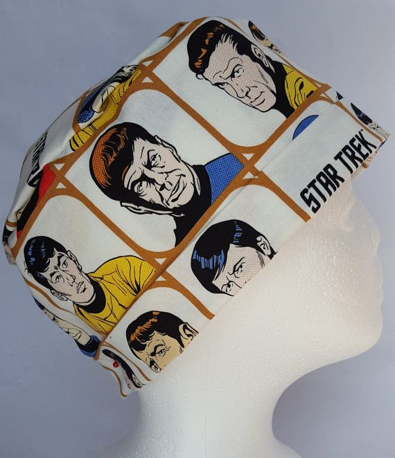 Scrub Hat Theatre Nurses Surgical Cap Star Trek by SnazzyScrubHats