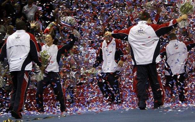 Members of the newly named U.S. Olympics gymnastic team, including Anna Li, left, a replacement, celebrate after the women's Olympic gymnastic qualifying trials in San Jose, Calif., Sunday, July 1, 2012. Photo: Sarah Rice, Special To The Chronicle / SF
