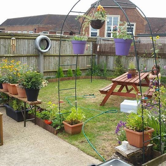 Garden of the day! Thanks for sharing Kim Tate. Lovely border work & hanging baskets too! Though someone doesn't look happy! #garden #gardens #gardenoftheday