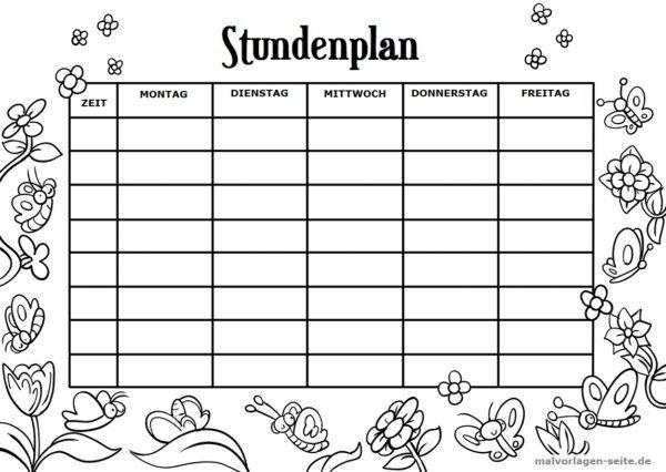 Stundenplan Vorlage Schmetterlinge Stundenplan Vorlage Stundenplan Vorlage Grundschule Ausmalbilder Zum Ausdrucken