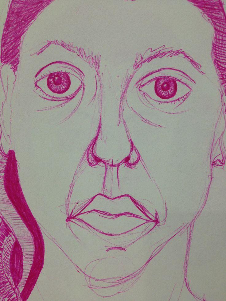 Selfportrait pink pen