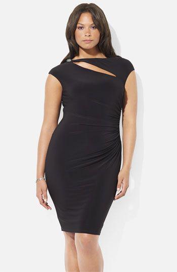 Ralph Lauren Jeweled Cutout Matte Jersey Sheath Dress #Plus #size