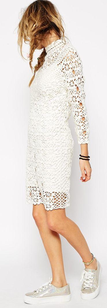 Crochet Dress With High Neck