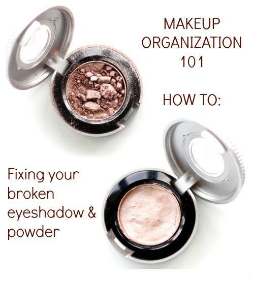 How to fix broken makeup! Makeup Organization series  Fix Broken eyeshadow, blush, bronzer, powder. Part 2 of 7 in a makeup organization series. Fixes, how to clean and organize everything in your makeup bag.