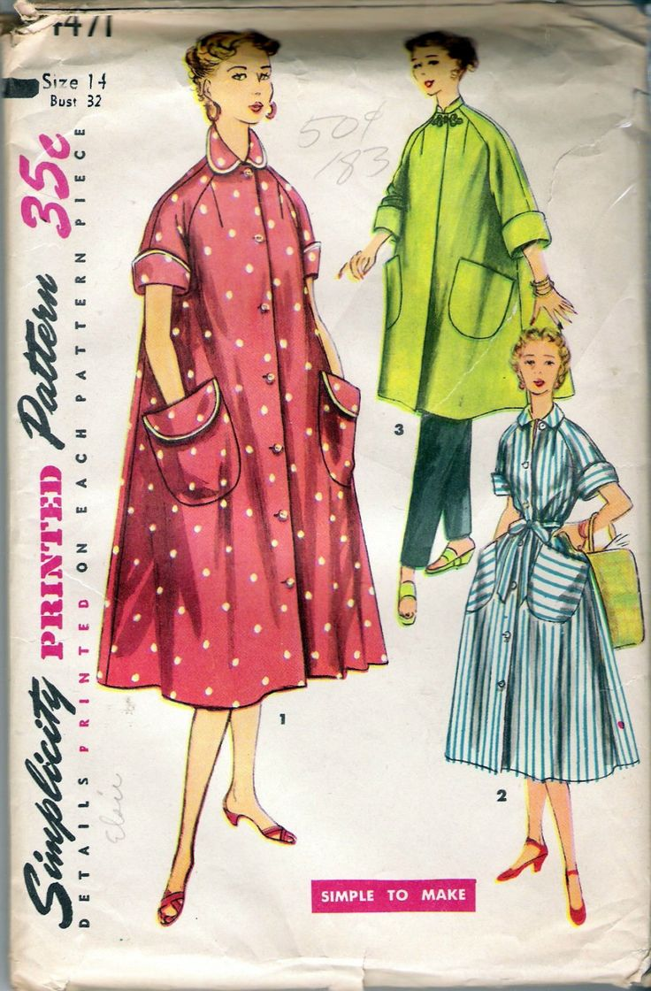 """Vintage 1953 Simplicity 4471 Robe in Two Lengths Sewing Pattern Size 14 Bust 32"""" UNCUT by Recycledelic1 on Etsy"""