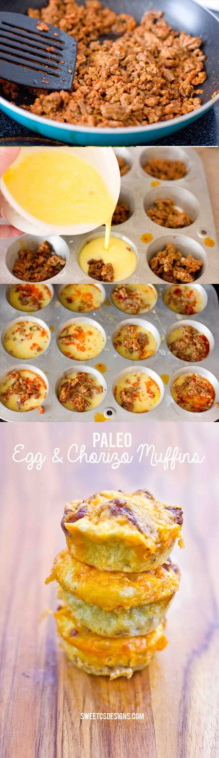 paleo egg and chorizo muffins- you can make these ahead and freeze for a great on the go breakfast!