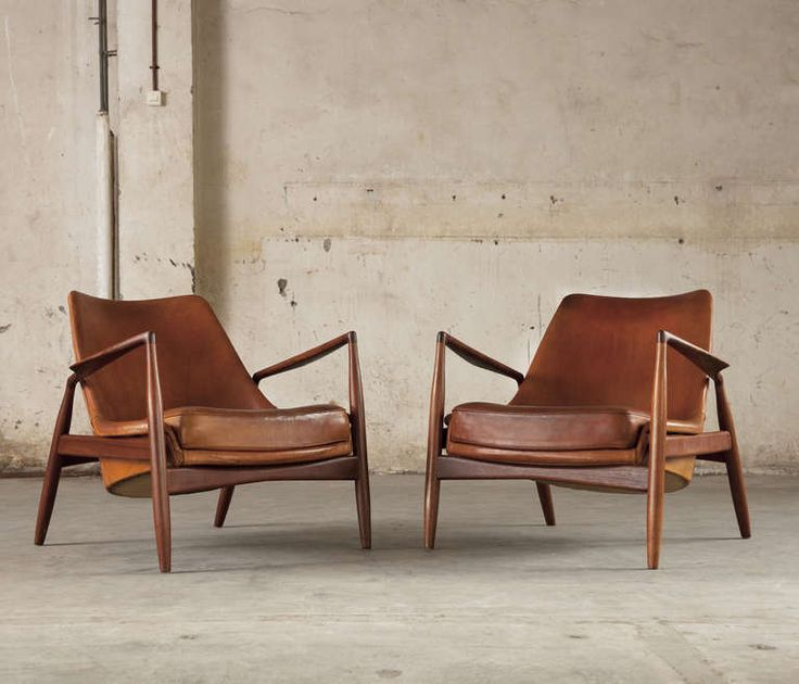 Pair Of 2 'seal' Lounge Chairs By Ib Kofod Larsen In Original Cognac Leather