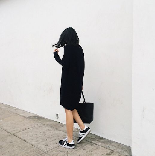 Le Fashion Blog 25 Ways To Wear Adidas Sneakers Black Sweater Dress Toe Bag Black With White Stripes Instagram Via Andy Heart