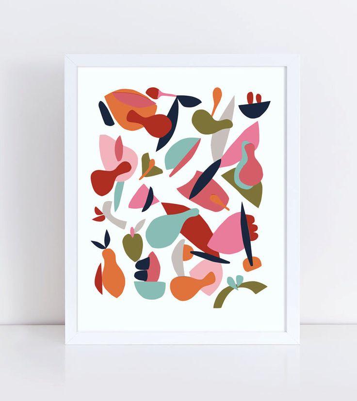 Kleurrijke print, Scandinavische poster, abstracte kunst, kunst aan de muur keuken, voedsel print, moderne art print, Scandinavische kunst, abstracte print, roze door Helsinkimonamour op Etsy https://www.etsy.com/nl/listing/233381589/kleurrijke-print-scandinavische-poster