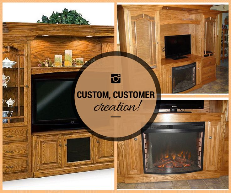 """Hoosier Heritage Entertainment Center + Customer Creativity + built-in Fireplace = Instant, Inviting Heirloom. Shop the Look: http://bit.ly/1zDesyq Says the Happy Customer Bruce: """"I will highly recommend DutchCrafters to anyone looking for high quality furniture and excellent service from start to finish."""""""