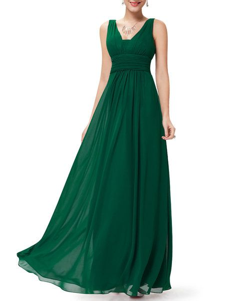 Shop Maxi Dresses - Green Ruched Sleeveless Solid Chiffon Evening Dress online. Discover unique designers fashion at StyleWe.com.