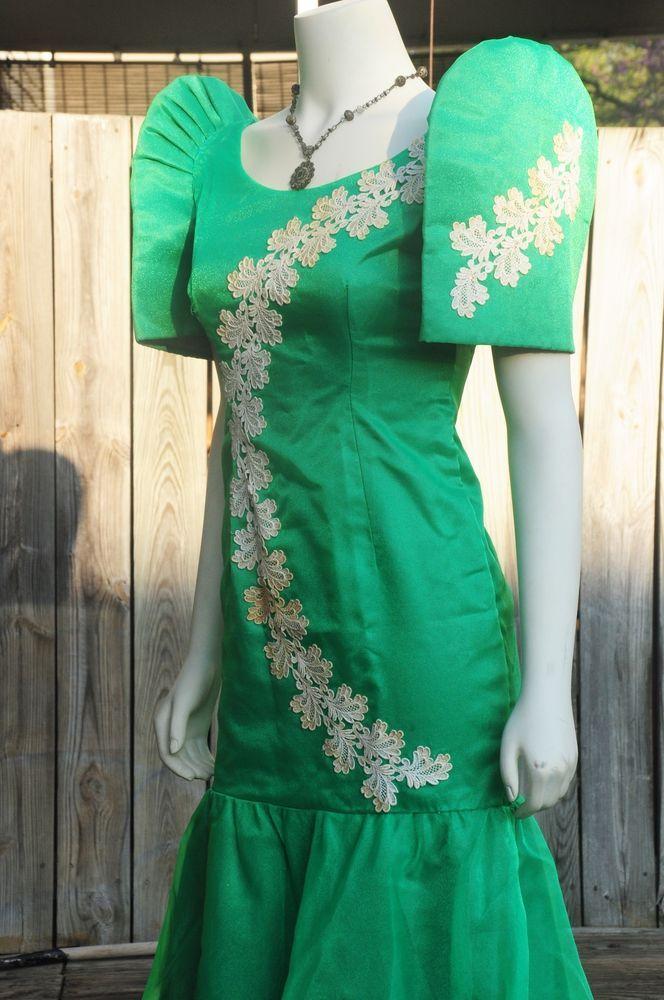 Filipiniana Vintage Terno Mestiza Green Filipino ...