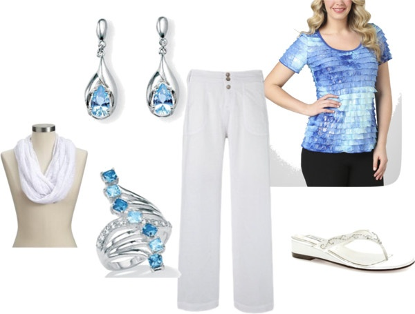 Summer Blues and White - Plus size, created by intcon on Polyvore