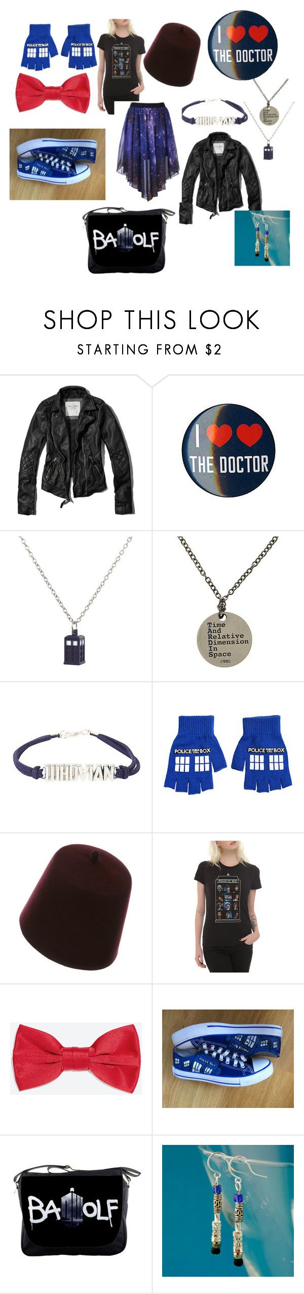 """""""doctor who fanatic outfit"""" by rainbow32539 ❤ liked on Polyvore featuring Abercrombie & Fitch, INDIE HAIR, Hot Topic, Zara and Converse"""