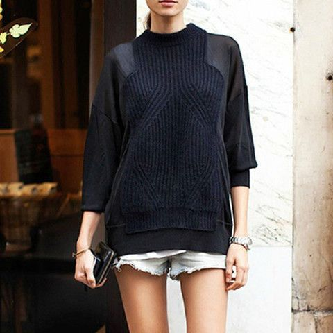 Ronnie Mixed Fabric Knit $58.00 http://www.helloparry.com/collections/new-arrival/products/ronnie-mixed-fabric-knit