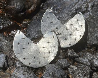 Alpaca silver earrings with cross holes