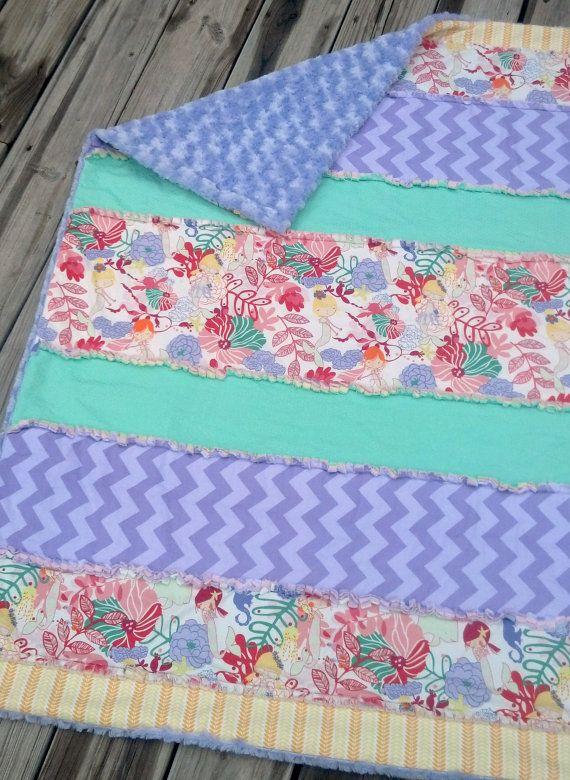 Strip Rag Quilt Throw Blanket Mermaid Crib Blanket
