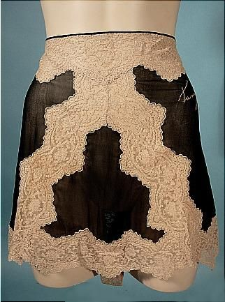 Antique Dress - Black Chiffon and Ecru lace Tap Pants with embroidered name