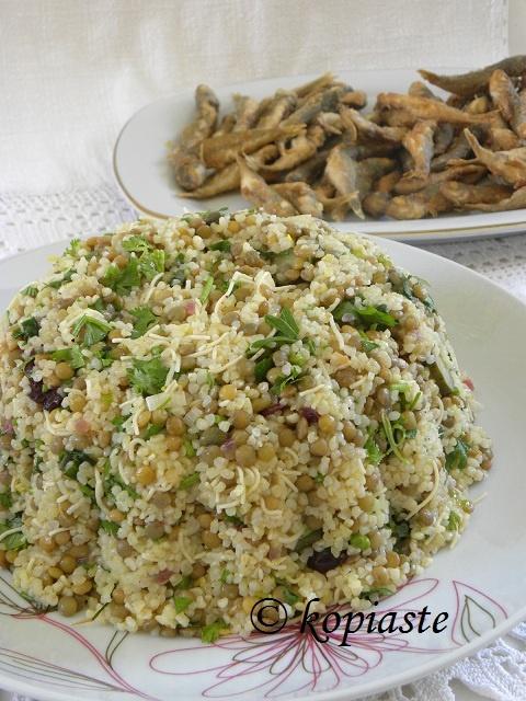 Vegan recipe -     Νηστίσιμη συνταγή / Σαλάτα/Πιλάφι Φακές με Πλιγούρι