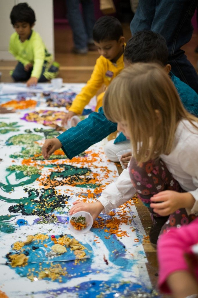 Collaborative Rangoli and other activities and crafts for celebrating Diwali at from the Rubins Museum, NYC