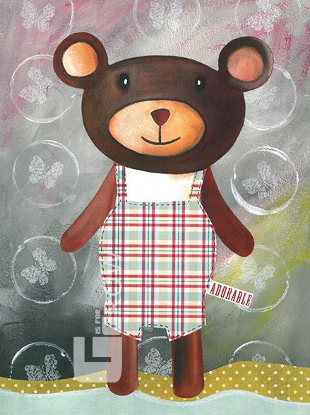 #babyroom #baby #bear #illustration #watercolor #collage #painting #print #11x8 #gisforgrow #portugal