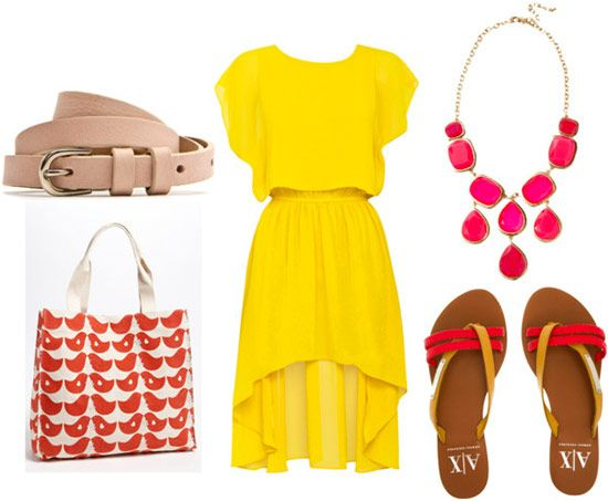 high-low dress for day with a pink statement necklace, bird print tote bag, beige belt, and colored flip flops