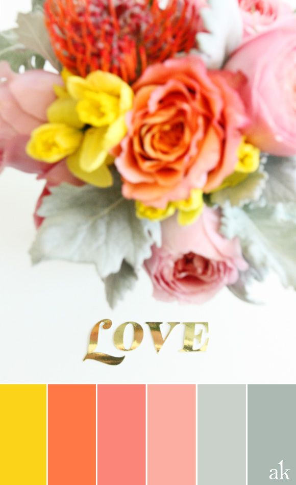 a Valentine-inspired color palette // yellow, orange, pink, dusty miller