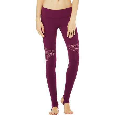 Whether you're rooting yourself to the sand as you listen to the sound of the surf or dreaming about doing yoga on the beach as you practice in your home studio, the Alo Yoga Women's West Coast Legging helps transport you to your happy place. Featuring an exclusive new laser-cut pattern, these leggings offer a unique, playful look. Stirrups keep the pant legs in place, so you won't have to break your tree pose to keep them from riding up.