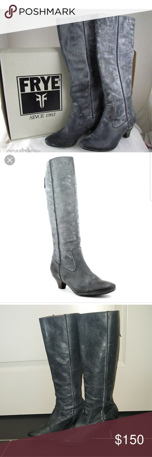 """FRYE Steffi Tall Grey Leather knee high boots $358 FRYE Steffi Back Zip TallLeather Knee-High Cowboy Boots in Gray gently used but in great shape size womans 8.5 With an almond toe and dainty heel. Absolutely, positively 100% Authentic! Rich and luxurious leather upper  Smooth leather lining  Plushly cushioned leather insole  Rear full zip entry for easy on/off  Durable and resilient leather/rubber outsole  Approximately 1 1/2"""" stacked heel and 15""""shaft PLEASE NOTE GLUE ON INSIDE IS FROM…"""