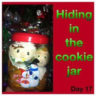 Elf on the shelf ideas Hiding in cookie jar