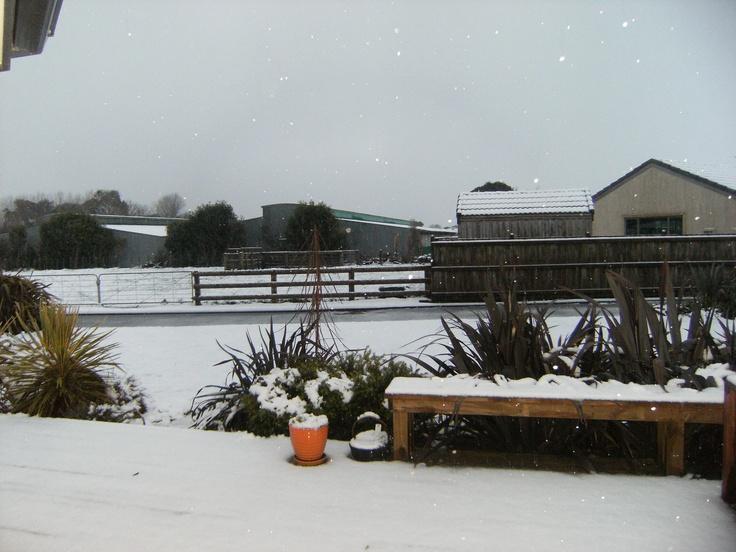 Hawera on a snowy day.
