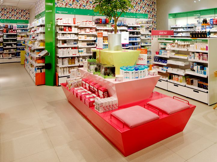 swedish pharmacy chain - strong color palette based on internal organs