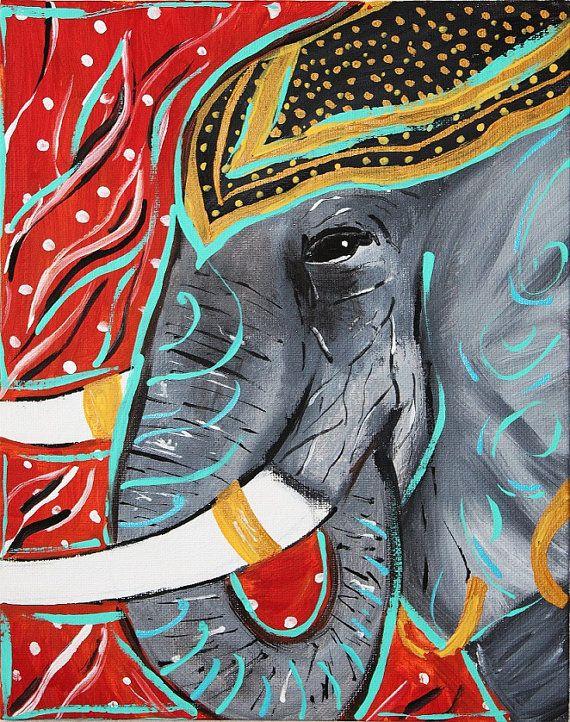 Painted Elephant, Indian Elephant,Henna,Jeweled,Gold,Tusks,Modern art painting,Elephant festival,abstract elephant