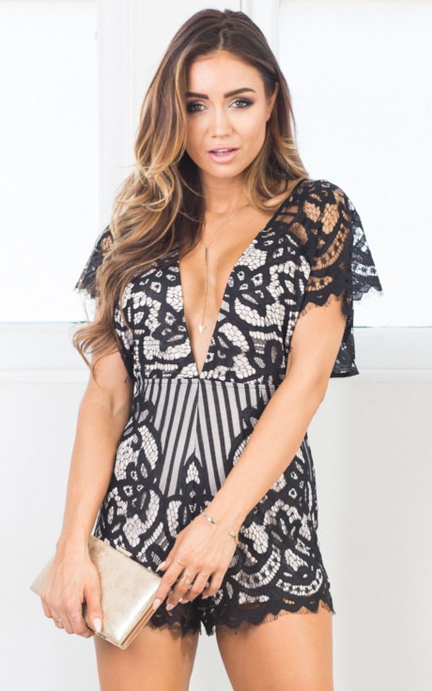 fccad7da553f Showpo Making Me Blush playsuit in black lace - 14 (XL) Rompers &
