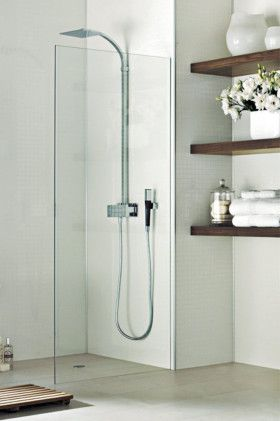 Shower design ideas | 'Vizage' vertical surfaces is non-porous and grout-free and comes in a range of colours and patterns, like 'Ash White tile' (above), from Laminex.