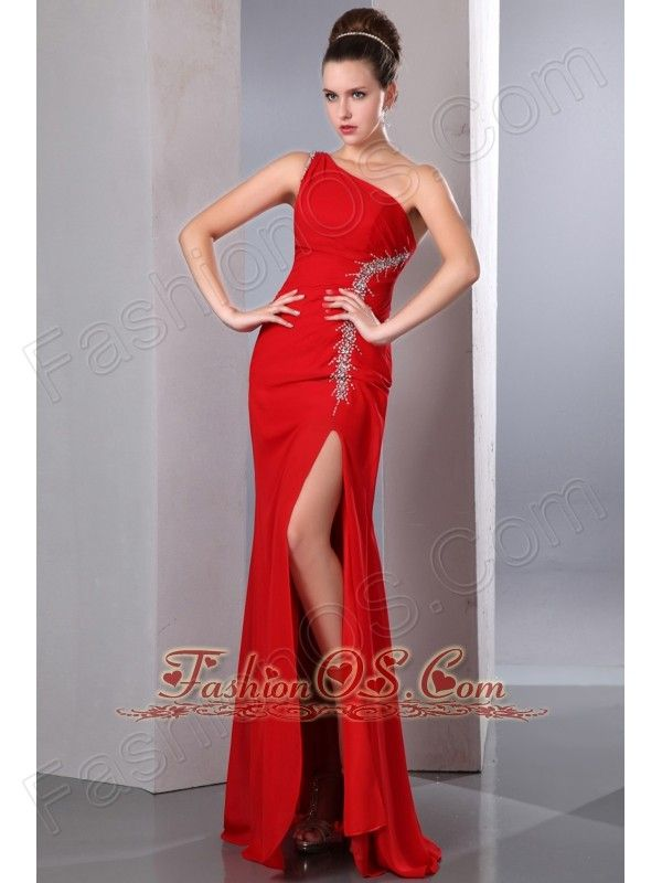 Beautiful Red One Shoulder Chiffon Prom Dress with silver beading on top side- $136.45  http://pinterest.com/fashionos/  http://www.youtube.com/user/fashionoscom?feature=mhee  You will get oodles of attention when you are wearing this body-hugging creation. A single shoulder strap holds the bust area very well, in the other side of the strap, it was mosaiced many beads which matches the beads on the side of the front part.