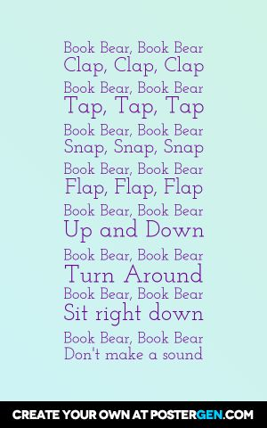 Original Story Time Rhyme by Katie Fitzgerald at storytimesecrets.blogspot.com: Book Bear, Book Bear (created for use with Otto the Book Bear by Katie Cleminson; can be adapted for other books/themes)