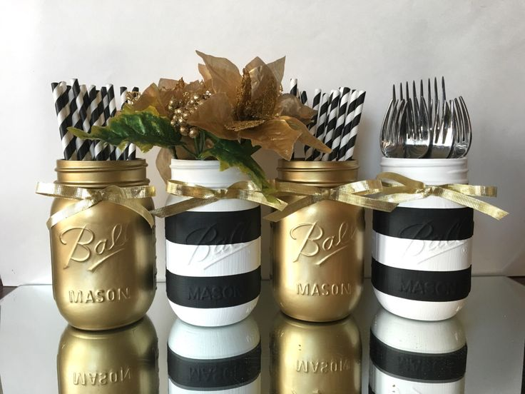 set of 4 painted black and white striped mason jars and gold metallic wedding centerpiece holiday decor christmas decorations