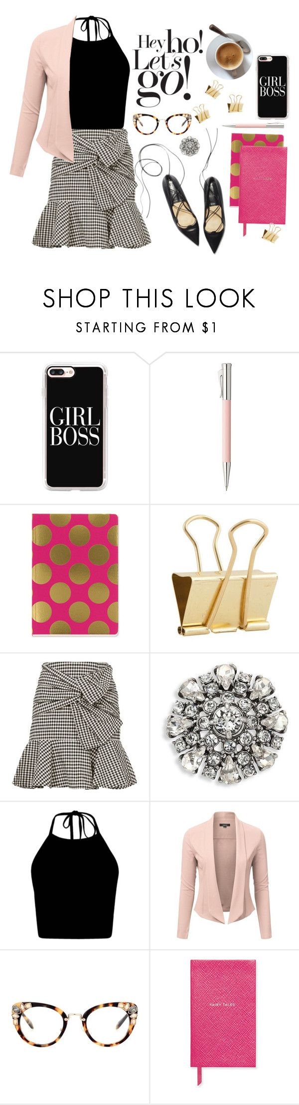 """Girl Boss"" by designed-4-life ❤ liked on Polyvore featuring Casetify, Faber-Castell, SNAP, Holly's House, Veronica Beard, Marc Jacobs, Miu Miu, Smythson and Damaris"