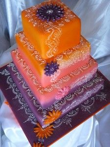 Colourful Indian Themed Wedding Cake Decorating