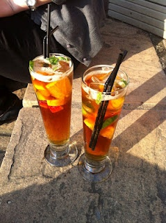 Recipe For British Summertime Pimms  makes enough for 4 servings. Adjust proportions as you please!      1. Mix 1 Part Pimm's No. 1with 3 parts chilled lemonade (Sprite).    2. Add roughly chopped mint leaves, cucumber, orange, and strawberry. Serve with ice!