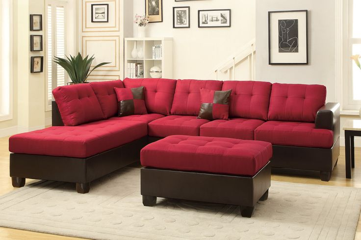 An impeccable design of textures and tones, this three-piece sectional includes a sofa, reversible chaise, and cocktail ottoman draped in blended linen framed in faux leather making it the perfect solution to the modern home décor.  Sectional Sofa Sale for $1023