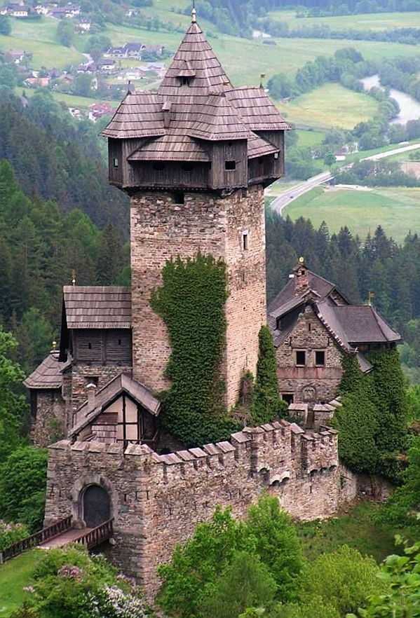 Niederfalkenstein (Falkenstein Castle), Pfaffenberg 19, 9821 Obervellach, Carinthia, Austria. Niederfalkenstein is a castle complex near on the southern slope of the Hohe Tauern mountain range. It was first mentioned as Valchenstain Castle in a deed of 1164. The former fortification of Oberfalkenstein is a ruin, while the lower barbican of Niederfalkenstein is preserved (and is shown here).