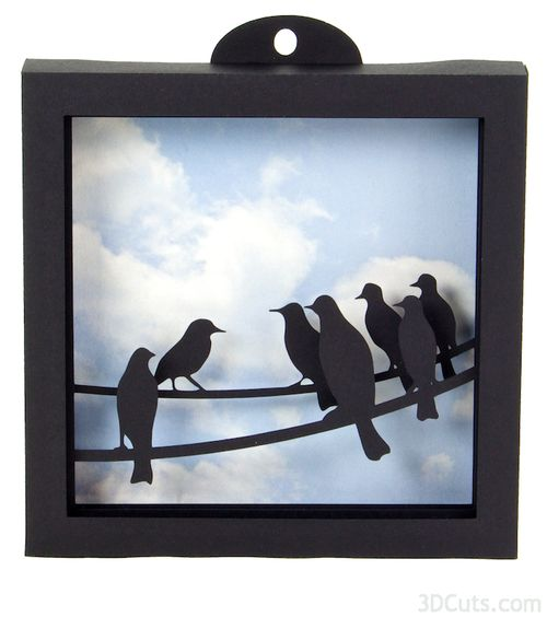Birds on a Wire - 3d Shadow Box tutorial by 3dCuts.com, Marji Roy, 3D cutting files in .svg, .dxf, and .pdf formats for use with Silhouette and Cricut cutting machines, paper crafting files