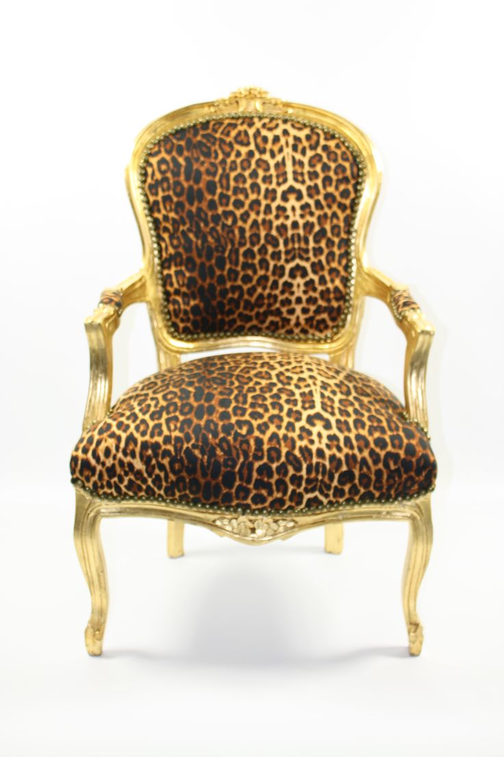 Louis style Salon chair with gold frame and Leopard print upholstery.